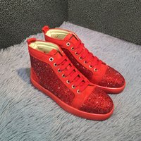 Wholesale High Fashion Dress Men Boots - luxury Fashion High Top Multicolored Glitter Red Bottom Shoes For Men Women Top brand Pink Purple Genuine Leather Dress Shoes flats sneakers