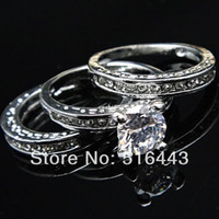 Wholesale Gold Ring Austria - 3pcs Upscale 3 in 1 Austria Crystal Cubic Zircon Rhinestones 18k White Gold Engagement Wedding Women Rings A-627