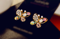 Boucles D'oreilles Percées Vintage Pas Cher-Vintage Diamond Stud Earrings Colorful Pierced Earrings Boucles d'oreilles en diamant Pearl Butterfly Earrings Jewelry Best Quality Free Ship