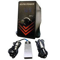Wholesale Elfin Tattoo - Wholesale-Professioanl Tattoo Power Supply Set Kit Mini ELFIN Tattoo Power Supply LCD Digital Foot Pedal Switch Clip Cord Tattoo Supply