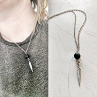 Wholesale Vintage Gold Tassel Necklace - Vintage Lava-rock Bead Feather Tassel Pendant Necklace Aromatherapy Essential Oil Diffuser Necklaces Black Lava Pendant Jewelry