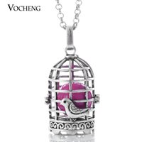 Wholesale Pregnant Halloween - VOCHENG Caller Harmony Birdcage Pendant Jewelry Angel Ball Necklaces Pregnant Lingerie Necklaces with Stainless Steel Chain VA-095