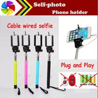 Wholesale Android Cable Remote - Audio cable wired Selfie Stick Extendable Handheld Remote Shutter Monopod for iPhone 6 IOS Android Galaxy note 3 4 S4 5 With Retail Box US06