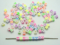 Wholesale Wholesale Pony Bead - Hot ! 400pcs White with Colorful Assorted Acrylic Smile Face Cube Pony Spaced Beads 6X6mm DIY Jewelry
