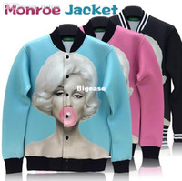 ingrosso giacche marilyn monroe-All'ingrosso-alta qualità Marilyn monroe stampa giacca outdoor sportswear donna uomo frangivento cappotto classico marylin modello autunno outwear