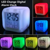 Wholesale 7 Glowing color changing alarm clock LED Change Digital Alarm Clock frozen Anna and Elsa Thermometer Night Colorful Glowing toys DHL Free
