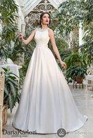 Wholesale Lace Wedding Dress Princess Cut - Elegant SATIN Wedding Dresses Cut OUT Jewelry Crystal Neckline Full A Line Vintage Bridal Gowns Garden Wedding Gowns