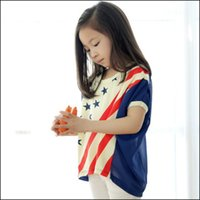 Wholesale Kids Batwing T Shirts - 2015 HOT summer kids Fashion national flag printing T shirt short batwing sleeve kid splicing tops soft clothes DHL free MOQ:300pcs SVS0475#