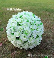 Wholesale Milk Silk Flower - 12 Inch Milk White Elegant Artificial Silk Rose Flower Kissing Ball 7 Colors For Wedding Christmas Ornaments Party Decoration Supplies
