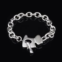 Wholesale Cheap Tracking - Free Shipping with tracking number Top Sale 925 Silver Bracelet Pure silver dog tag Bracelet Silver Jewelry 20Pcs lot cheap 1567