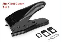 çift kesici toptan satış-5 adet Çift SIM Kart Kesici Makinesi Standart Mikro Nano Adaptörü + iPhone 5C 5 S 4 S Samsung Pin Pin Atmak-Siyah Gümüş