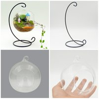 Wholesale Fishing Globe - FreeDHL with Stent Micro Landscape Hang Terrarium Glass Fish Tank Globe Tea Light Holder Glass Fish Tank bonsai Vase Transparent Vase E419L