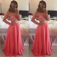Wholesale Evening Dresses Watermelon - Off the Shoulder Long Sleeve Prom Dresses Vintage Lace with Beads 2017 A Line Watermelon Chiffon Party Gowns Long Formal Evening Wear Custom