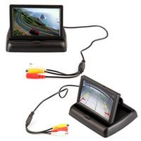 moniteur vidéo télévisé achat en gros de-Pliage 4,3 pouces TFT couleur LCD écran de stationnement capteur vidéo moniteur voiture pour TV Rearview caméra de recul inverse