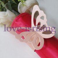 Wholesale Decoration Butterfly Hot Pink - Hot Sale-100pcs Pink Paper Butterfly Napkin Rings Wedding Bridal Shower Napkin holder-Sample Order
