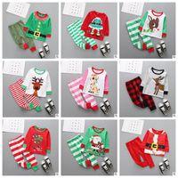 Wholesale Kids Santa Claus Pajamas - Baby Clothes Kids Christmas Elk Pajamas Sets Striped Santa Claus Suits Cotton Xmas Tops Pants Outfits Cartoon Long Sleeve Clothing Sets 3612