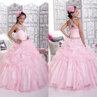 Wholesale Kids Hot Pink Ball Gowns - 2015 Fashion Pink Beading Ball Gown Girls' Pageant Dresses Charming Ruffles Crystals Hot Kids Formal Wear Party Gown Custom Made