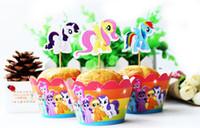 кубок торт способствует оптовых-Бесплатная доставка Маленький Пони кекс обертки украшения день рождения сувениры для детей, Кубок торт ботворезы выбирает поставки