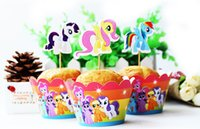 Wholesale Cupcakes Party Favors - Free Shipping Little Pony cupcake wrappers decoration birthday party favors for kids, cup cake toppers picks supplies