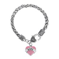 Barato Jóia De Arame Espesso-Bracelet Sweet Heart Crystal Wire Braceletes grossos Word Hope Charm Bangles Twisted Chain DIY Bangle 30pcs / lot Jóias Amizade