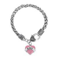 Wholesale Friendship Words - Bracelet Sweet Heart Crystal Wire Thick Bracelets Word Hope Charm Bangles Twisted Chain DIY Bangle 30pcs lot Friendship Jewelry
