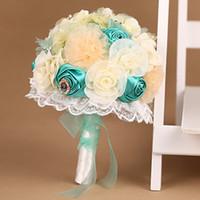 flores de lima al por mayor-Turquoise Lime Green Seda Acessorios De Noiva Bouquet de flores artificiales para novia y dama de honor de alta calidad Ramos De Novia