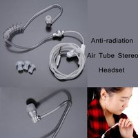 Wholesale Wholesale Air Tube Headset - Professional Headphones Earphone Headset Anti-radiation Air Tube Stereo Design Monaural with MIC for iPhone Samsung MP3 Tablet PA1997