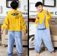 Wholesale Despicable Pyjamas - Flannel Despicable Me Minions Cosplay Costume Fantasias Cartoon Children Animal Pajamas Halloween Pyjamas for Kids long sleeve in stock
