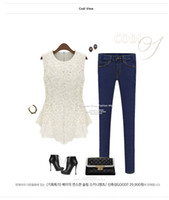 Wholesale Crochet Shirts For Women - 2016 New Lace Blouses For Women Crochet Summer Casual Floral Colorful Lace Shirt Tops Tees Sleeveless Hollow Out Blouses Summer Clothing