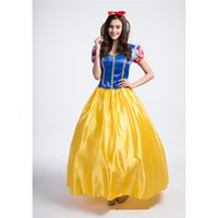 Wholesale Snow Women Xxl - Women's Deluxe Snow White Princess Long Dress Costume with Petticoat For Halloween Stage Cosplay Fancy Party Dress Size S-XXL