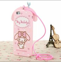 Wholesale Case Melody Free Shipping - Lovely Japan Hello Kitty My Melody Cartoon 3D Bow Case Silicon Rubber Cover for iphone 5 6 6Plus with Sling Free Shipping