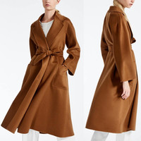 Wholesale High Waisted Womens - 2018 best selling Max caramel womens cashmere coats long winter jackets high quality long sleeves winter womens outweaer coats