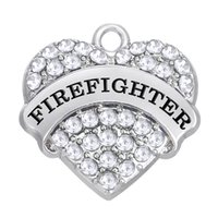 Wholesale Wholesale Firefighter - Special Design New Arrival Zinc Alloy Material Initial FIREFIGHTER Pendant Charms Heart Crystal Elegant Jewelry Accessory