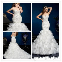 Wholesale Strapless Fold Wedding Dress - 2015 Free shipping wedding dress sexy Mermaid Sweetheart Floor length Sweep Beaded Fold Satin bride dress with long tail wedding gowns 2016