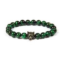 Wholesale Wolf Eyes - New Design Jewelry Wholesale 10pcs lot 8mm Natural Green Tiger Eye Stone Beads With Micro Pave Cz Wolf Beaded Bracelet
