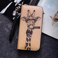 Wholesale print small photos - Leather designer women wallets new Courier deer Korean fashion zipper pocket long wallet purse clutch small print ultra-thin purses