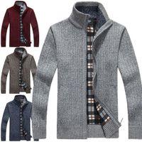 Wholesale Turtle Neck Sweatshirts - New Cardigan Mens Cardigans Knitwear Zipper Sweaters Warm Fleece Hoodie sweatshirt Casual Hoodies For Autumn Winter