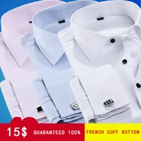 Wholesale Cheap Cuff Shirts - Wholesale-HotPromotion Free shipping Men's French cuff Button long sleeve shirt formal dress cheap shirt color wholesale and retail