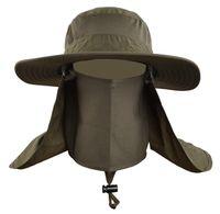 chapéus de pesca respirável venda por atacado-Atacado-Outdoor Homens Mulheres Dobrável Rápida Secagem Rápida UV Pescoço Proteção Chapéu De Pesca, Verão Respirável Cap Escalada Sol Freeship