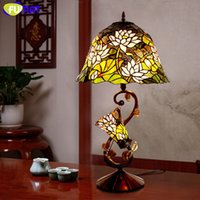 Wholesale Lotus Bedding - FUMAT Glass Art Lamp Quality Stained Glass Lotus Shade Table Light European Living Room Bedside Stand Lamp Bar Light Fixtures