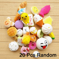 Wholesale cute bread - 20 In 1 Squishy Toys Slow Rising Squeeze Lovely Squishies Cute Soft Mini Bread Cake ice Cream Toys Phone Straps Kids Wholesale