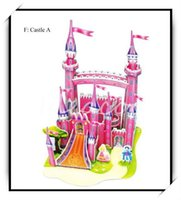 Wholesale Handmade Toy Castle - Wholesale-3D Super Puzzle of Romantic Pink Castle For Kid's Birthday Christmas Gift Creative DIY Handmade Toy(QY-029)