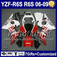 Yamaha R6s Fiat Kaufen -7gifts + Für YAMAHA YZFR6S 06-09 Rote weiße FIAT YZF-R6S 06 07 08 09 F9537 Red white YZF600 YZF 600 YZF R6S 2006 2007 2008 2009 Fairing Kit