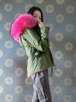 Wholesale Ladies Raccoon Fur Hood Jacket - Mr & Mrs Furs Red parkas Raccoon Fur hood Lined with rabbit fur Ladies furs Jacket Green