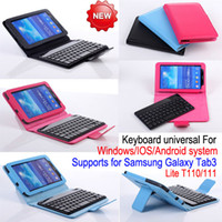 Wholesale Bluetooth Keyboard Galaxy - 7 inch Bluetooth Keyboard Leather Case Cover with Stand for Samsung Galaxy Tab3 Lite T110 T111 Universal Bluetooth V3.0 Detachable Keyboard