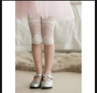 Wholesale Lace Tights For Girls - Children girls legging pants hot sale summer tight stitching lace legging pants 4 colors for baby girls 5pcs lot summer fashion pants