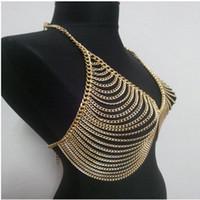 ingrosso schiavi d'oro-Cintura donna sexy in vita con cintura in tessuto a maglia tono su tono, cravatta in schiava, collana in oro con cristalli