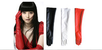 Wholesale Red Leather Opera Gloves - Amazing Faux Sheathy Cool Artificial Imitation Long Pu Leather Women Ladies Opera Evening Party Over Elbow Arm Gloves 50cm Length 7Colors