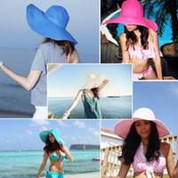 Wholesale Large Ladies Straw Hats - Wholesale-New Fashion Chic Womens Ladies Wide Large Brim Summer Beach Sunhat Straw Cap