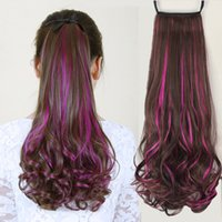 Wholesale multi color hair extension online - Cute Fashion Multi Color Synthetic Hair Extensions Wavy Curly Ponytail Lady Women Fake Long Hairpiece Ombre Claw Clip Drawstring